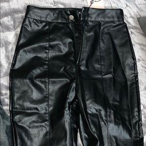 Split front straight leg trouser black